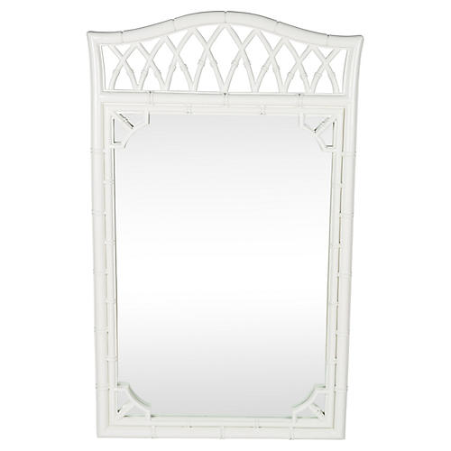 Large White Faux-Bamboo Mirror
