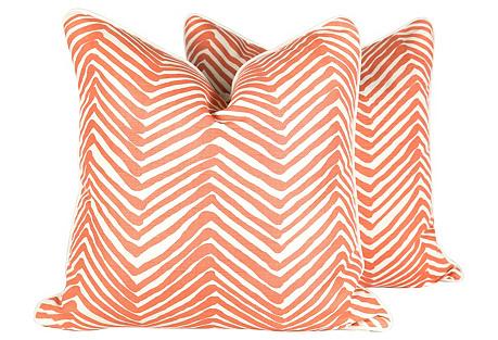 Coral Zig Zag Pillows, Pair