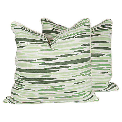 Vine Linen Ocean Pillows, Pair