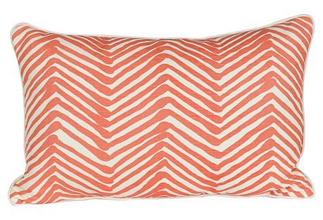 Coral & Ivory Zig Zag Lumbar Pillow