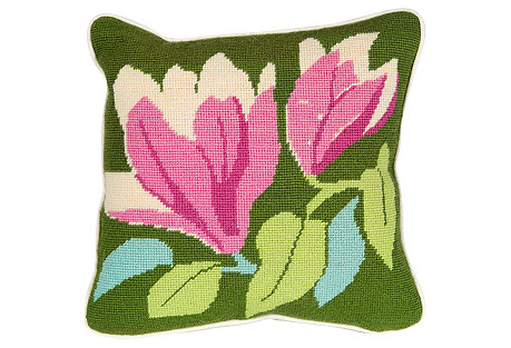 Cross-Stitch Hibiscus Pillow