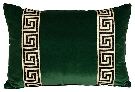 Emerald Velvet Greek Key Pillow