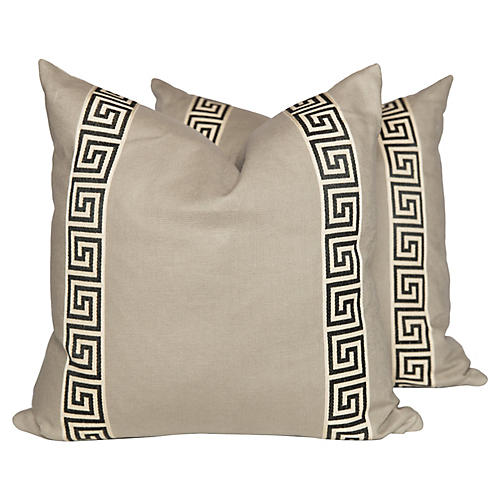 Cream Linen Greek Key Pillows, Pair