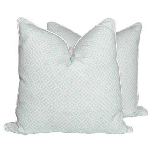 Quarante Aqua Pillows, Pair