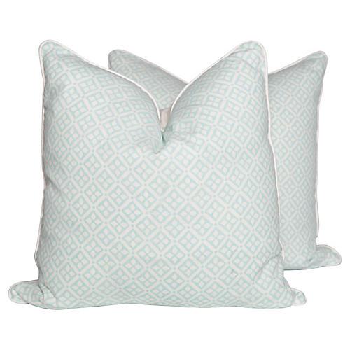Quarante Aqua Pillows, Pair