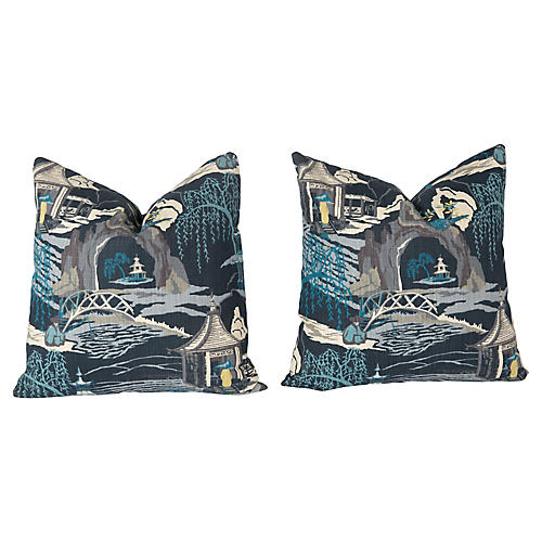 Blue Chinoiserie Pattern Pillows, Pair