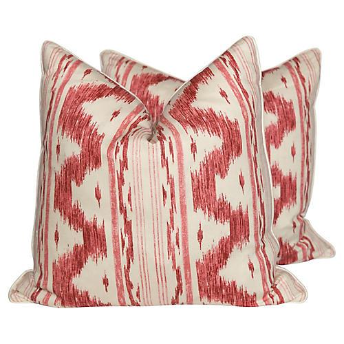Garnet Ikat Linen Pillows, Pair
