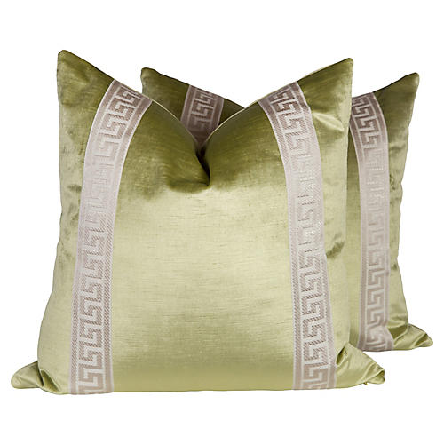 Citrine Velvet Greek Key Pillows, Pair