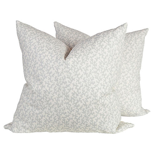 Pale Blue Linen Pillows, Pair
