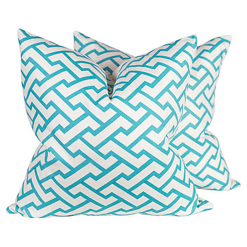 China Seas Aga Teal Pillows, Pair