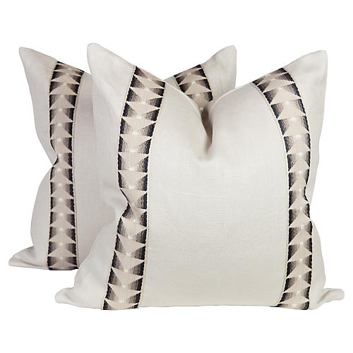 Aztec Trim Pillows, Pair