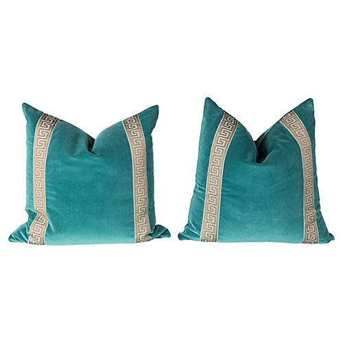 Teal Velvet Greek-Key Pillows, Pair