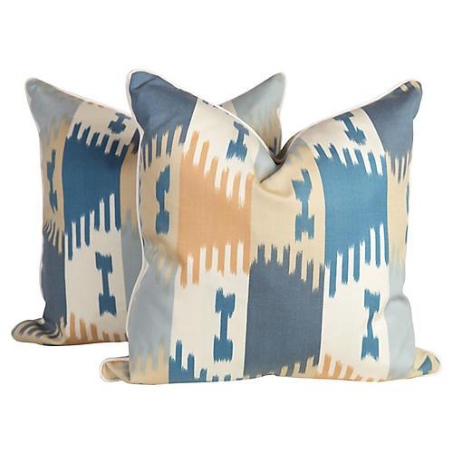 Brunschwig & Fils Ikat Pillows, Pair