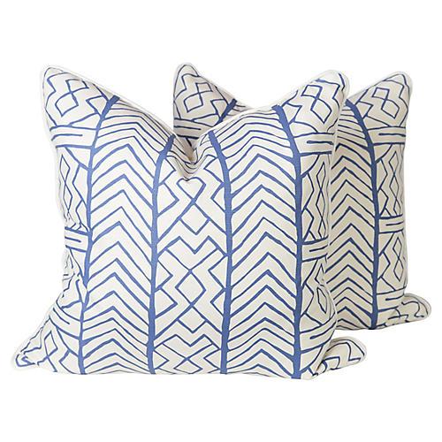 Alan Campbell Blue Aruba Pillows, Pr