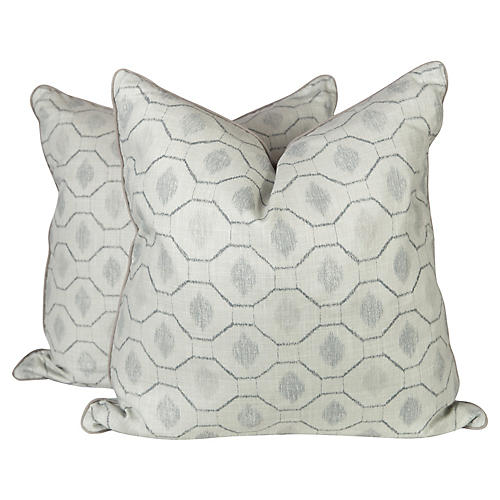 Seafoam Ibiza Blocked Pillows, Pair