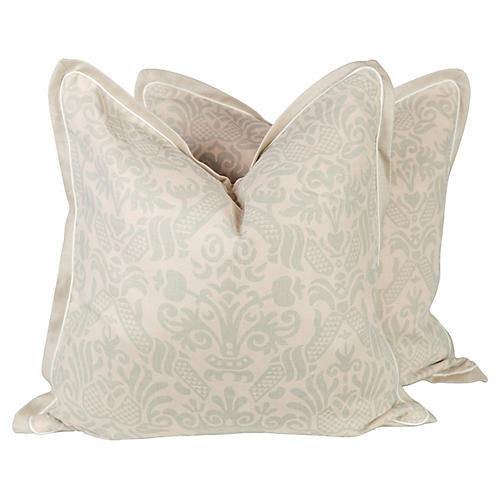 Seafoam Green Linen Baroque Pillows
