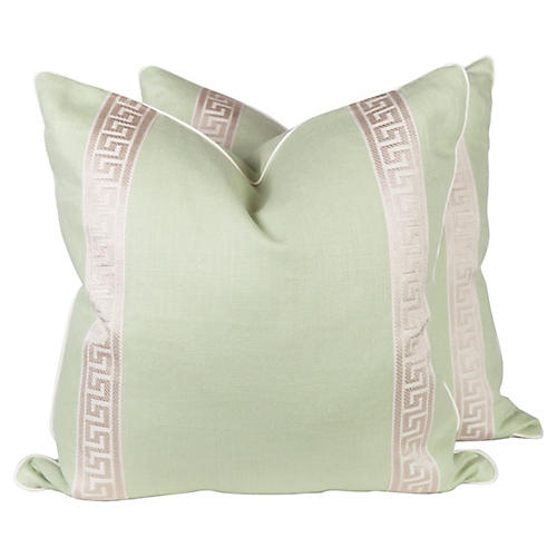 Light Green Linen Greek Key Pillows, Pr