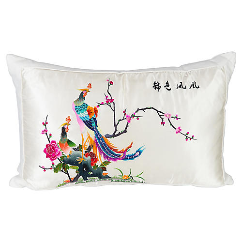 Silk & Linen Chinoiserie Lumbar Pillow