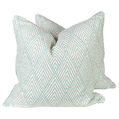 Turquoise Tahitian Stitch Pillows, Pair