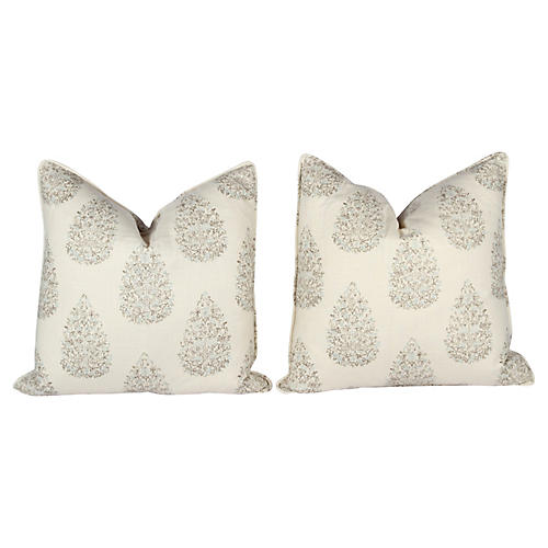 Kedara Linen Leaf Pillows, Pair