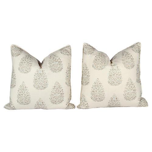 Kedara Linen Leaf Pillows, Pair