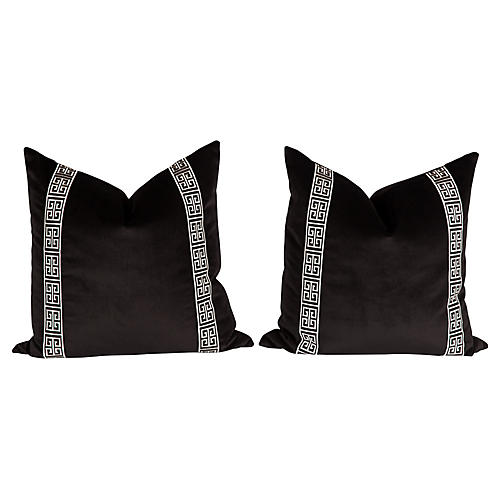 Black Velvet Fretwork Trim Pillows