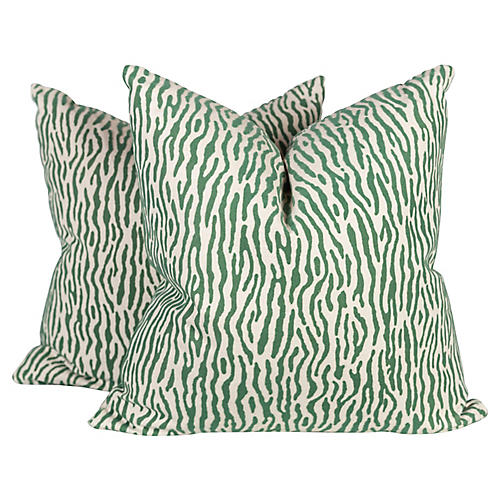 Green & Ivory Velvet Linen Zebra Pillows