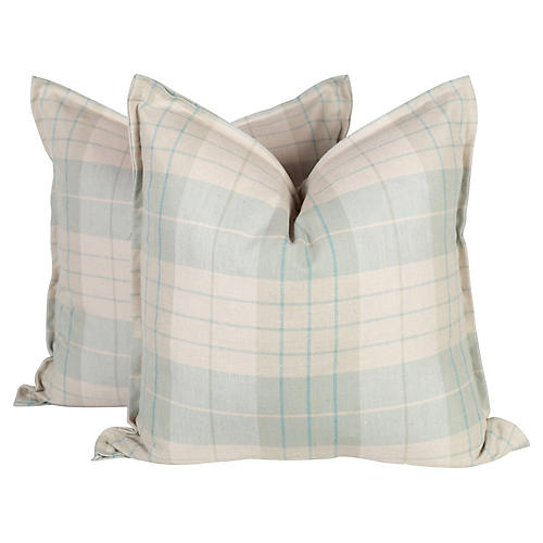 Sea Foam and Cream Plaid Pillows, Pair