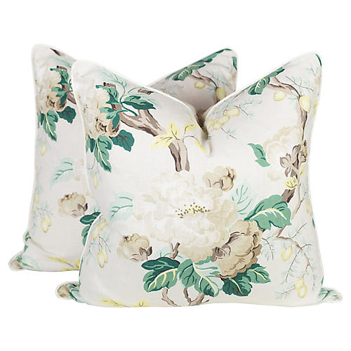 Cream and Green Peony Chintz Pillows, Pr