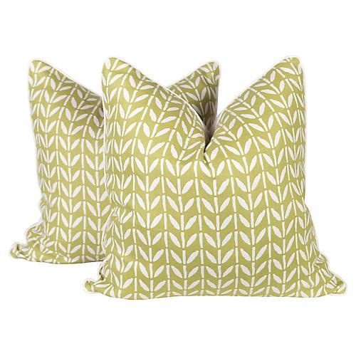 Moss Garden Linen New Leaf Pillows, Pair