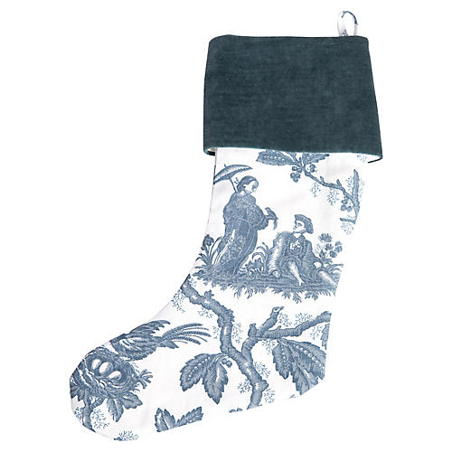 Chinoiserie Toile Christmas Stocking