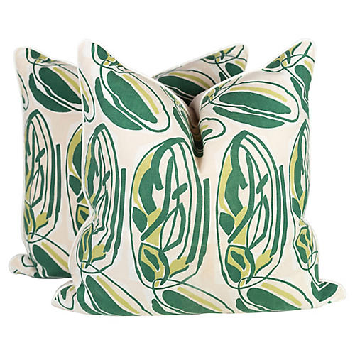 Abstract Leaves of Green Pillows, Pr