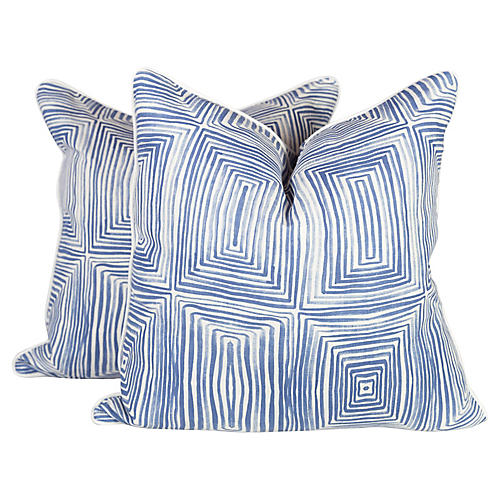 Navy Concentric Squares Pillows, Pair