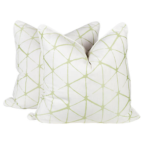 Citrus Geo Embroidered Linen Pillows, Pr