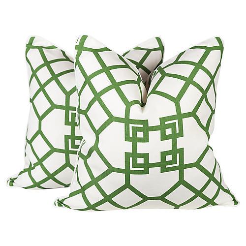 Emerald Lattice Imperial Pillows, Pair