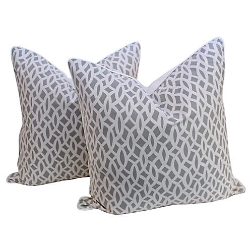 Schumacher Chain Link Pillows, Pair