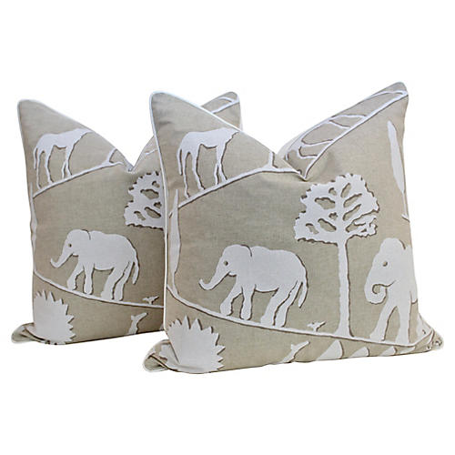 Flax Linen Safari Pillows, Pair