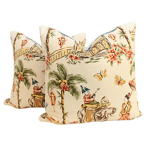 Chinoiserie Bazaar Pillows, Pair