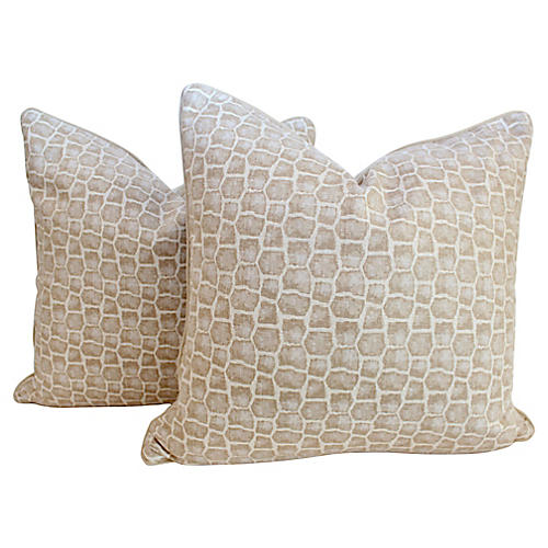 Cream Crocodile Pattern Pillows, Pair