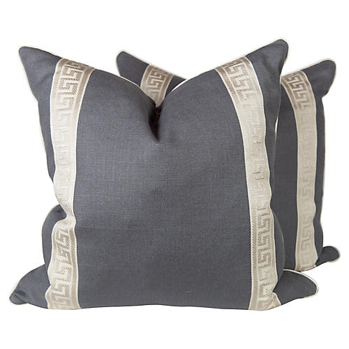 Charcoal Linen Greek Key Pillows, Pair