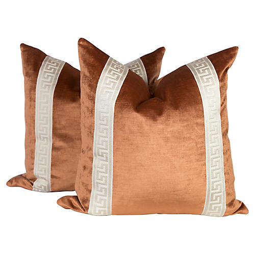 Copper Velvet Greek Key Pillows, Pair