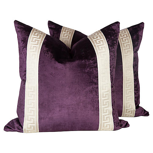 Plum Velvet Greek Key Pillows, Pair