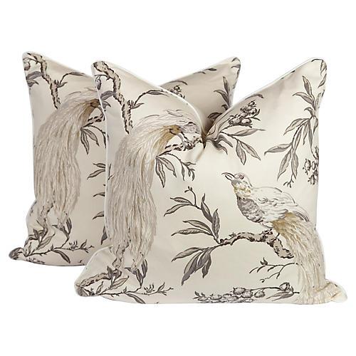Chinoiserie Bird Pillows, S/2