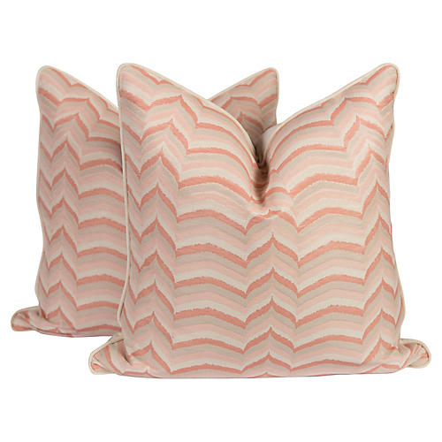 Pink & Ivory Flame Pillows, Pair