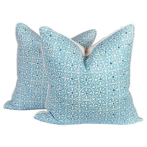 Turquoise Nitik Pillows, Pair