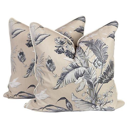 Gray Palm Tropical Pillows, Pair