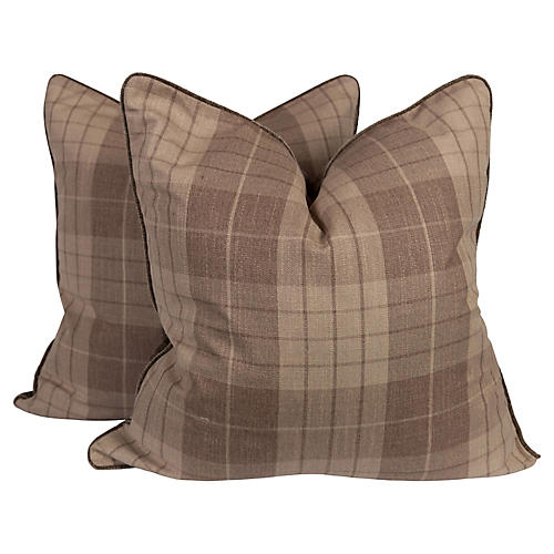 Plaid & Velvet Whittington Pillows, Pair
