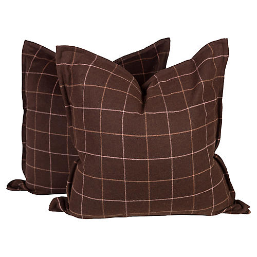 Brown Plaid Wool Pillows, Pair