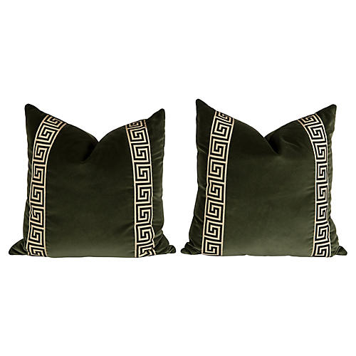 Moss Velvet Greek Key Pillows, Pair
