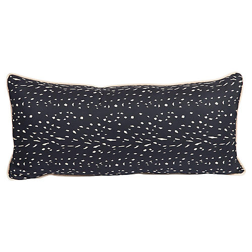 Black & Cream Silk Speckled Pillow